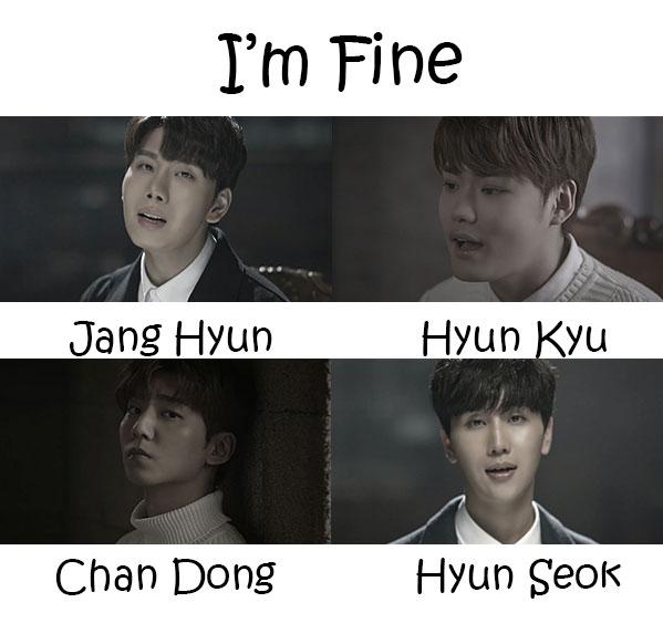 "The members of Vromance in the ""I'm Fine"" MV"