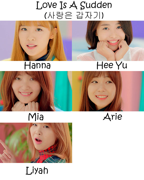 "The members of MIXX in the ""Love Is A Sudden"" MV"