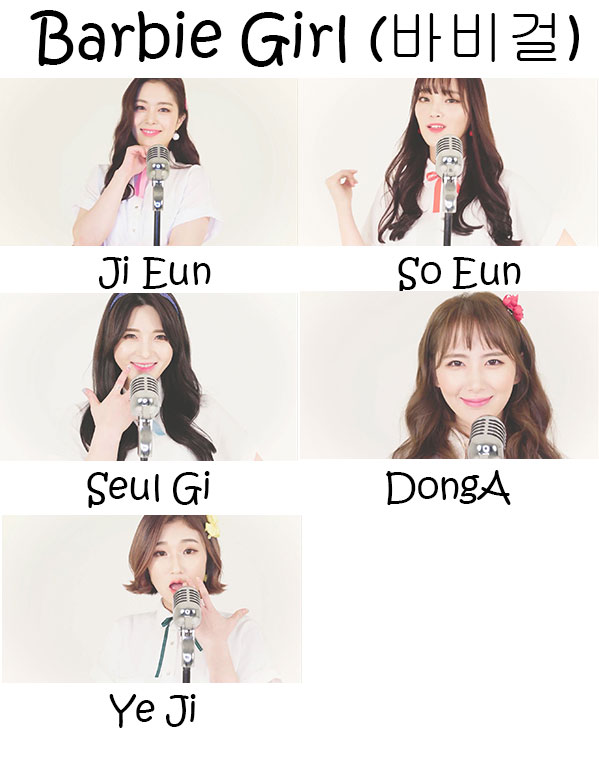 "The members of Various in the ""Barbie Girl"" MV"
