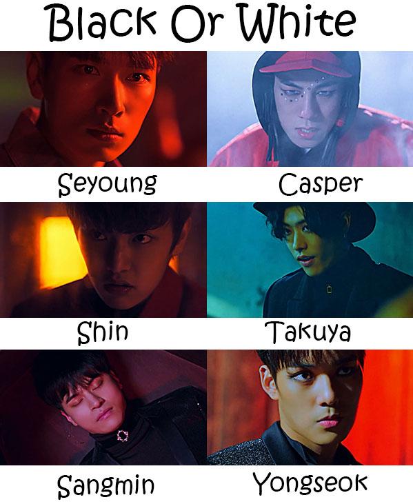 "The members of Cross Gene in the ""Black Or White"" MV"