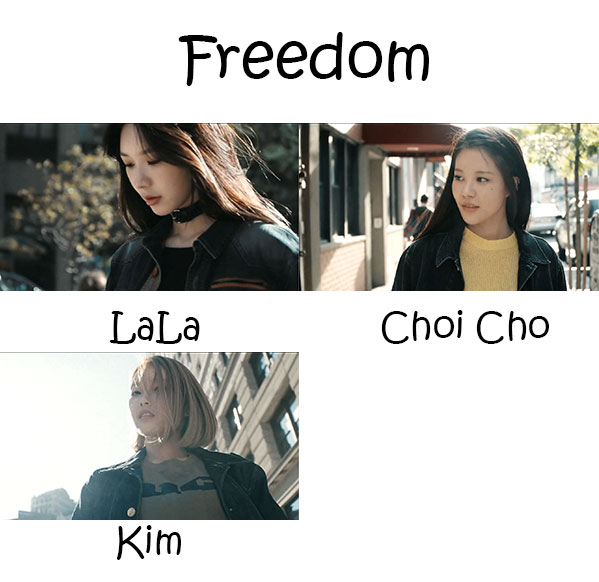 "The members of Rubber Soul in the ""Freedom"" MV"