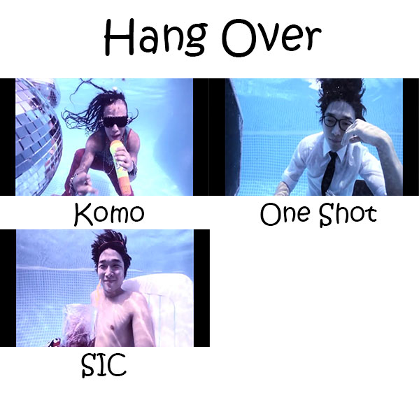 "The members of Monsterz in the ""Hang Over"" MV"