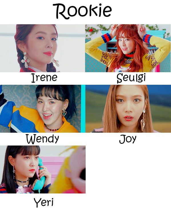 "The members of Red Velvet in the ""Rookie"" MV"