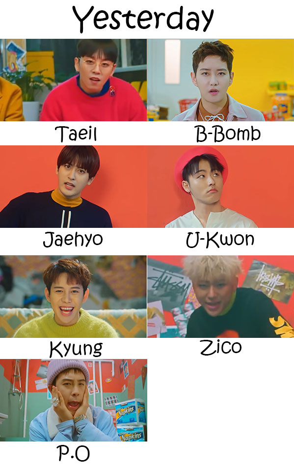 "The members of Block B in the ""Yesterday"" MV"