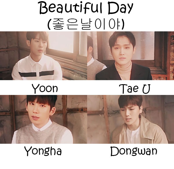 "The members of B.Heart in the ""Beautiful Day"" MV"