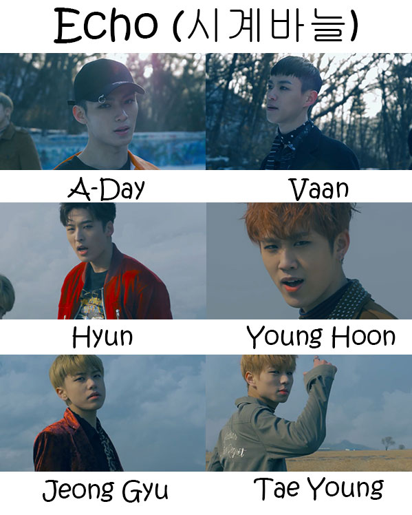"The members of Seven O'Clock in the ""Echo"" MV"