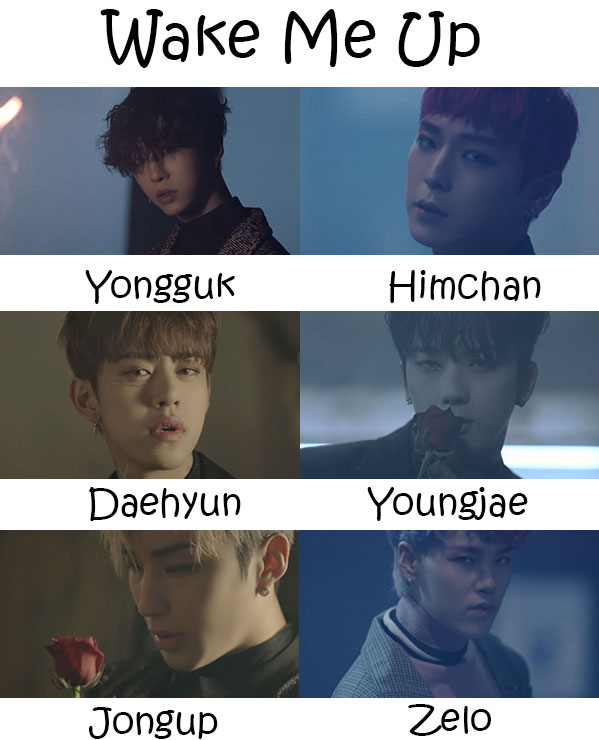 "The members of B.A.P in the ""Wake Me Up"" MV"