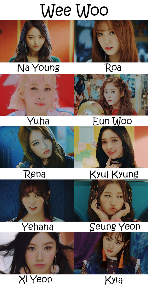 "The members of Pristin in the ""Wee Woo"" MV"