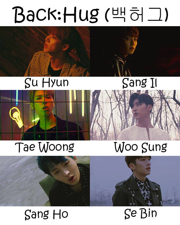 "The members of Snuper in the ""Back:Hug"" MV"