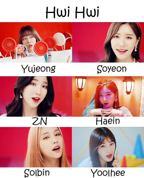 "The members of LABOUM in the ""Hwi Hwi"" MV"