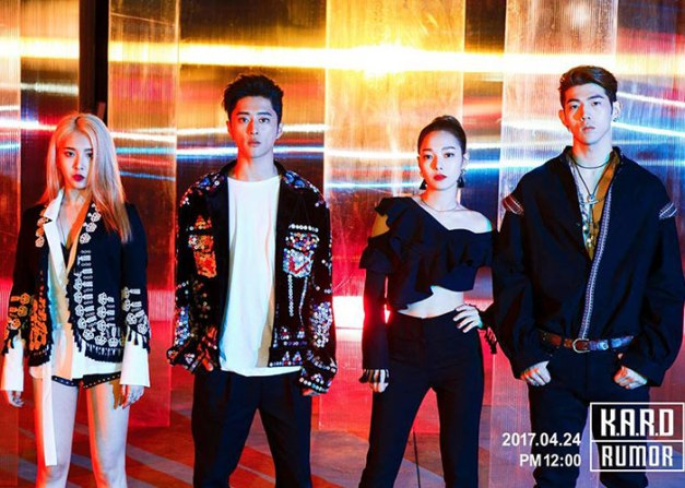"K.A.R.D's ""Rumor"" promotional picture."