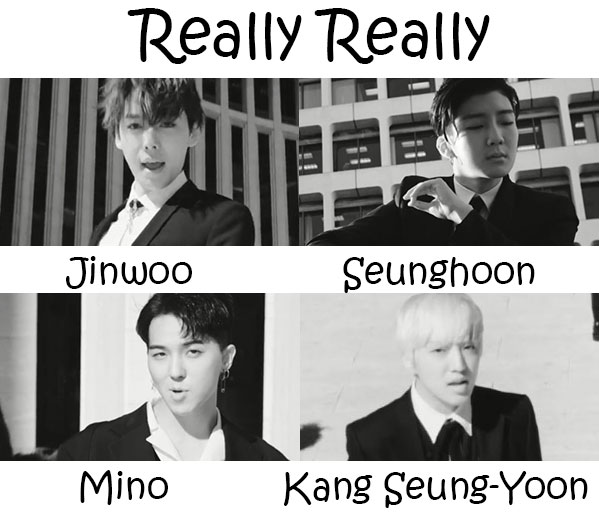 "The members of WINNER in the ""Really Really"" MV"
