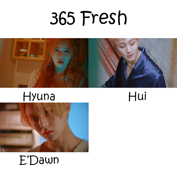 "The members of Triple H in the ""365 Fresh"" MV"