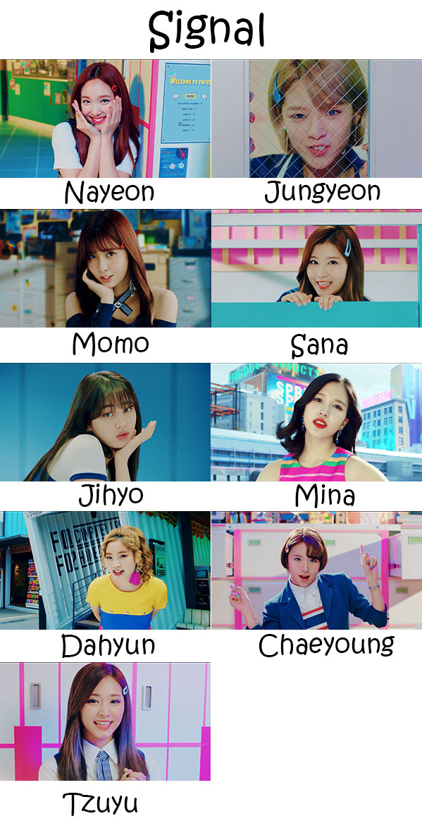 "The members of Twice in the ""Signal"" MV"