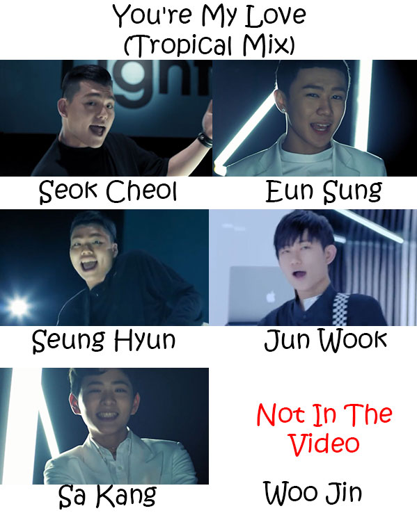 "The members of The Eastlight. in the ""You're My Love (Tropical Mix)"" MV"