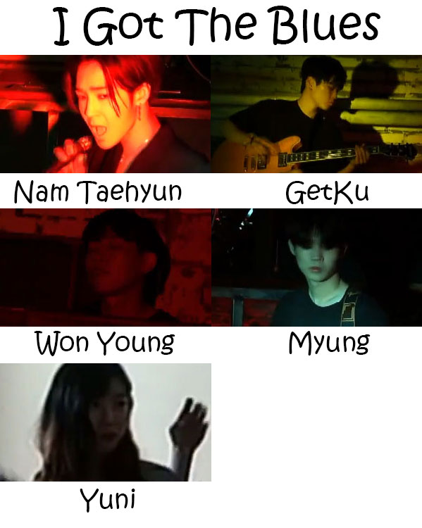 """The members of South Club in the """"I Got The Blues"""" MV"""