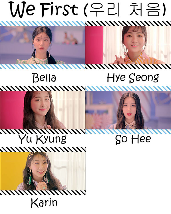 "The members of ELRIS in the ""We First"" MV"