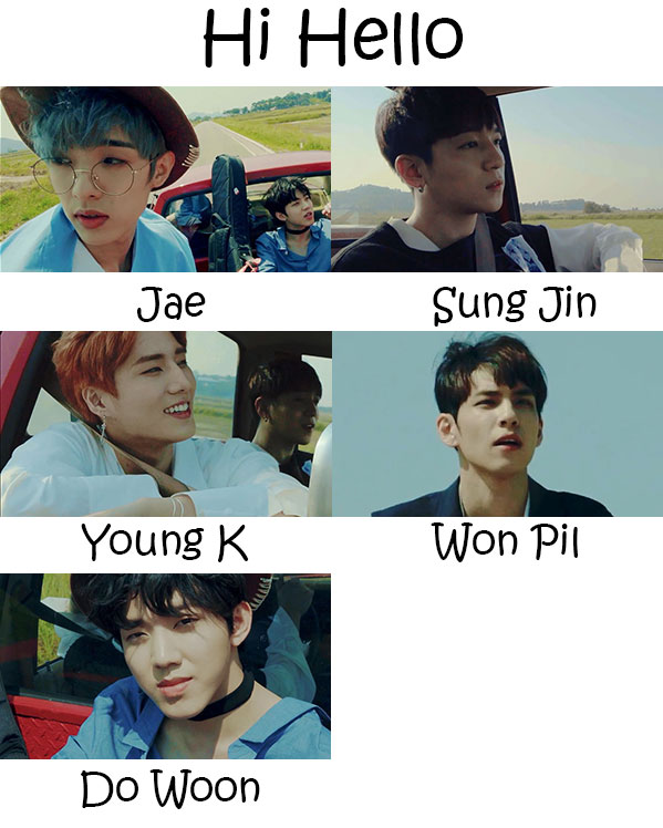 "The members of Day6 in the ""Hi Hello"" MV"