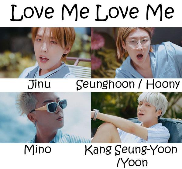 "The members of Winner in the ""Love Me Love Me"" MV"