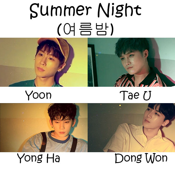 "The members of B.Heart in the ""Summer Night"" MV"
