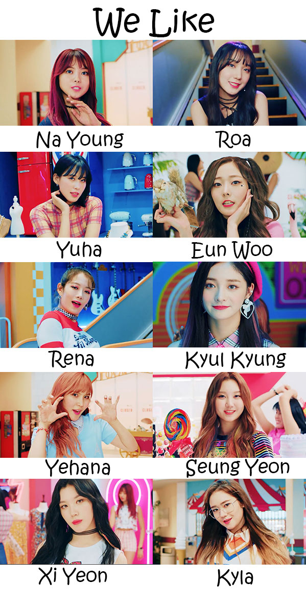 "The members of Pristin in the ""We Like"" MV"