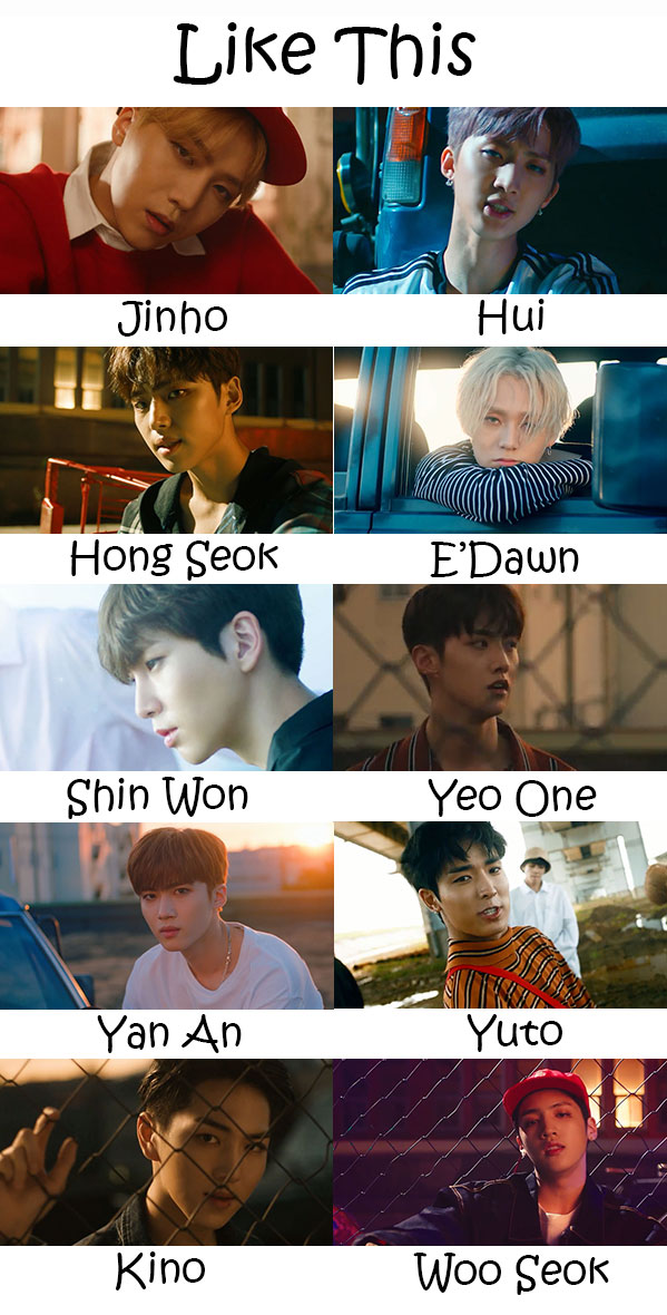 "The members of Pentagon in the ""Like This"" MV"