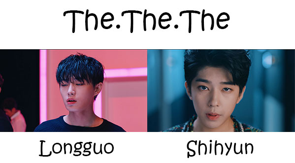 "The members of Longguo & Shihyun in the ""The.The.The"" MV"