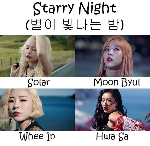 "The members of MAMAMOO in the ""Starry Night"" MV"