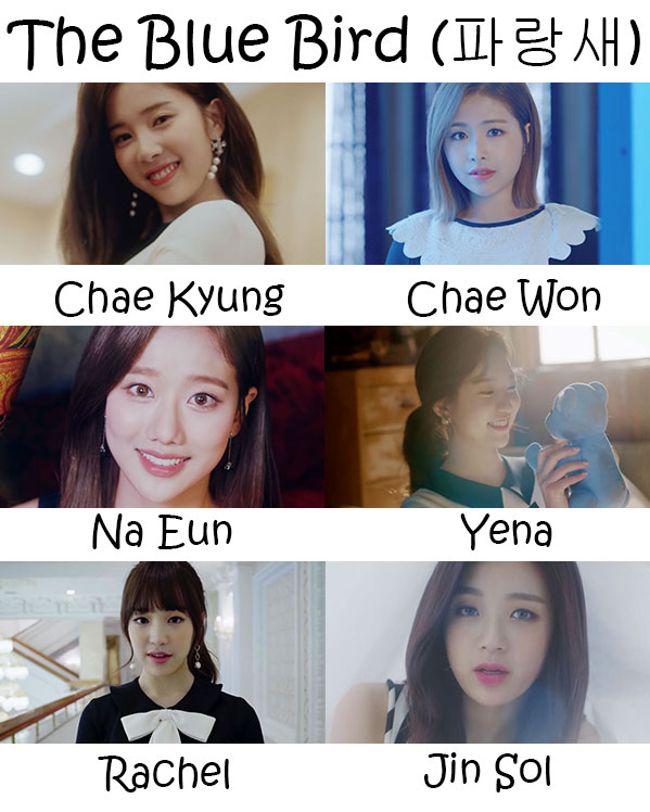 "Themembers of April in the ""The Blue Bird"" MV"